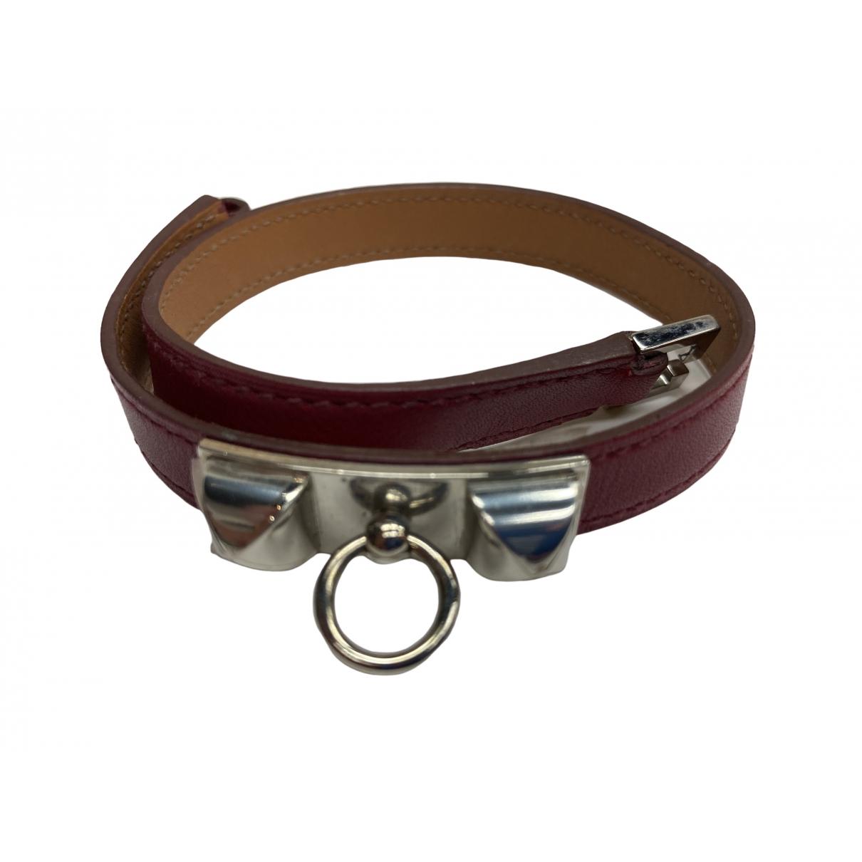 Hermes - Bracelet Rivale pour femme en cuir - rouge