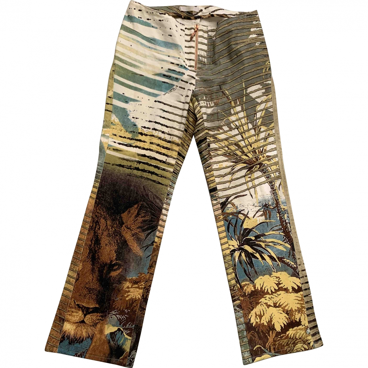 Roberto Cavalli \N Multicolour Cotton Trousers for Women S International