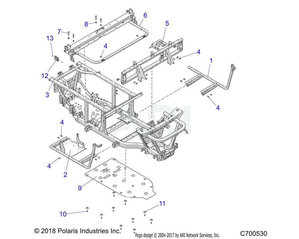 Polaris OEM 1016254-329 WELD-FLOOR SUPPORT, LH, BLK