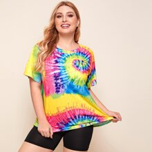 Plus Tie Dye Round Neck Tee