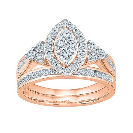 Womens 1 CT. T.W. Genuine White Diamond 10K Rose Gold Bridal Set, 7 , No Color Family