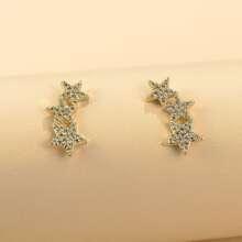 Rhinestone Decor Star Design Stud Earrings