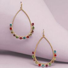 1pair Multi Colored Stone Teardrop Earrings