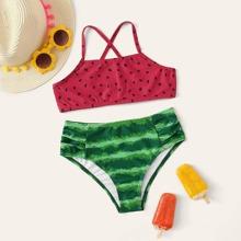 Girls Watermelon Print Criss Cross Bikini Swimsuit