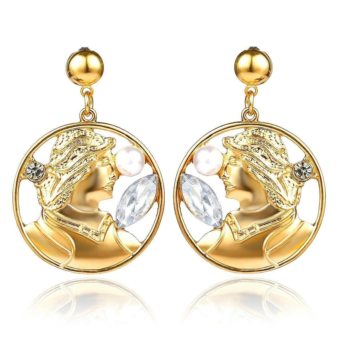 Vintage Embossed Portrait Earrings Pearl Diamond Earring Drop For Women