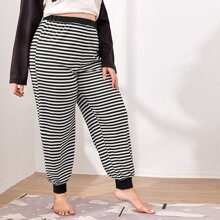 Plus Rib-knit Striped Sleep Pants