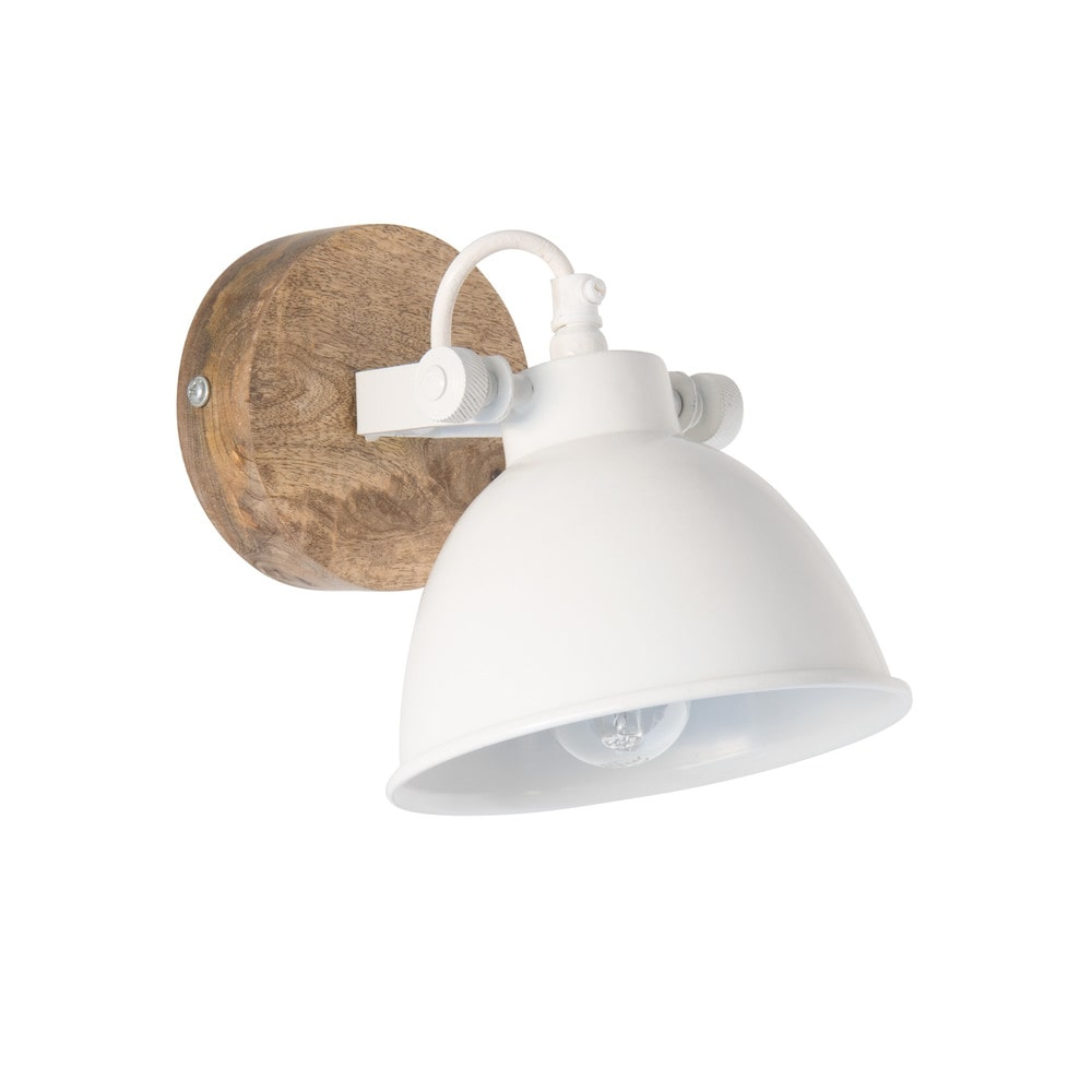 Wandlampe aus Metall, weiss und Mangoholz