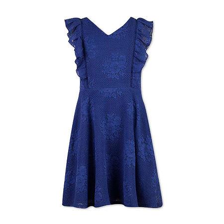 Speechless Big Girls Sleeveless A-Line Dress, 8 , Blue