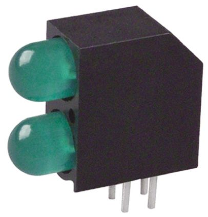 Dialight 552-0222F, Green Right Angle PCB LED Indicator, 2 LEDs, Through Hole 2.1 V
