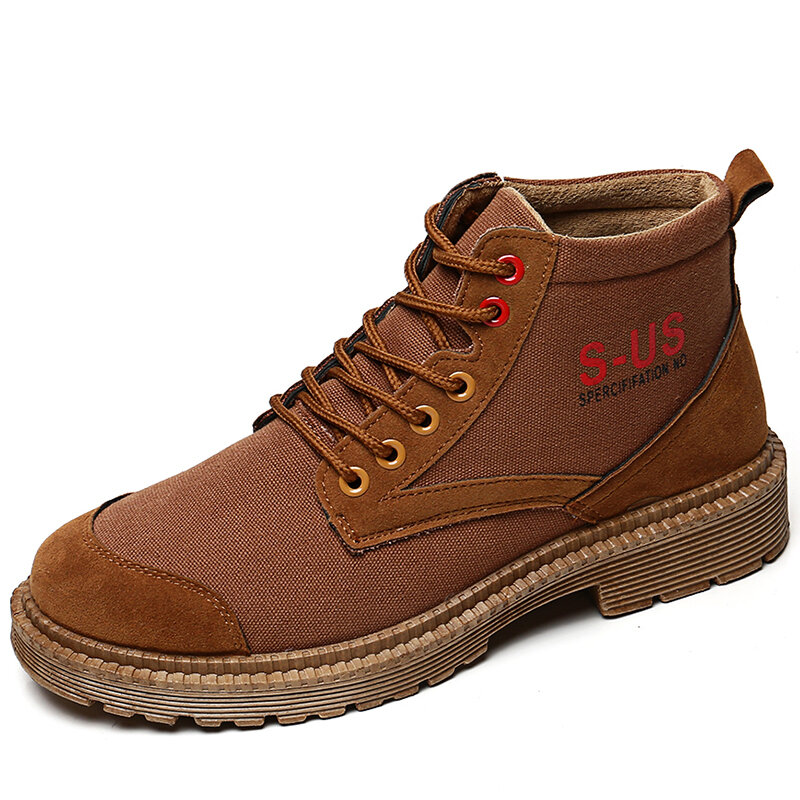 Men Fabric Non Slip Warm Lining Outdoor Casual Tooling Boots
