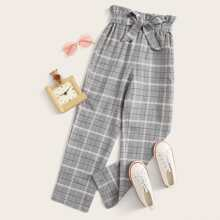 Girls Paperbag Waist Plaid Pants