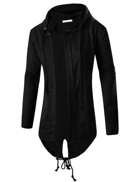 Milanoo Black Men Hoodie Assassins Creed Hoodie Long Sleeve Cotton Sweatshirt