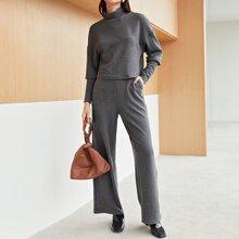 Mock Neck Drop Shoulder Rib-knit Tee & Pants Set