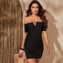 Off Shoulder Notched Neck Bodycon Dress