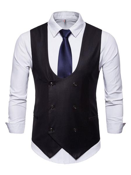 Milanoo Men Suit Vest 1950s U Neck Double Breasted Tuxedo Plus Size Waist Coat