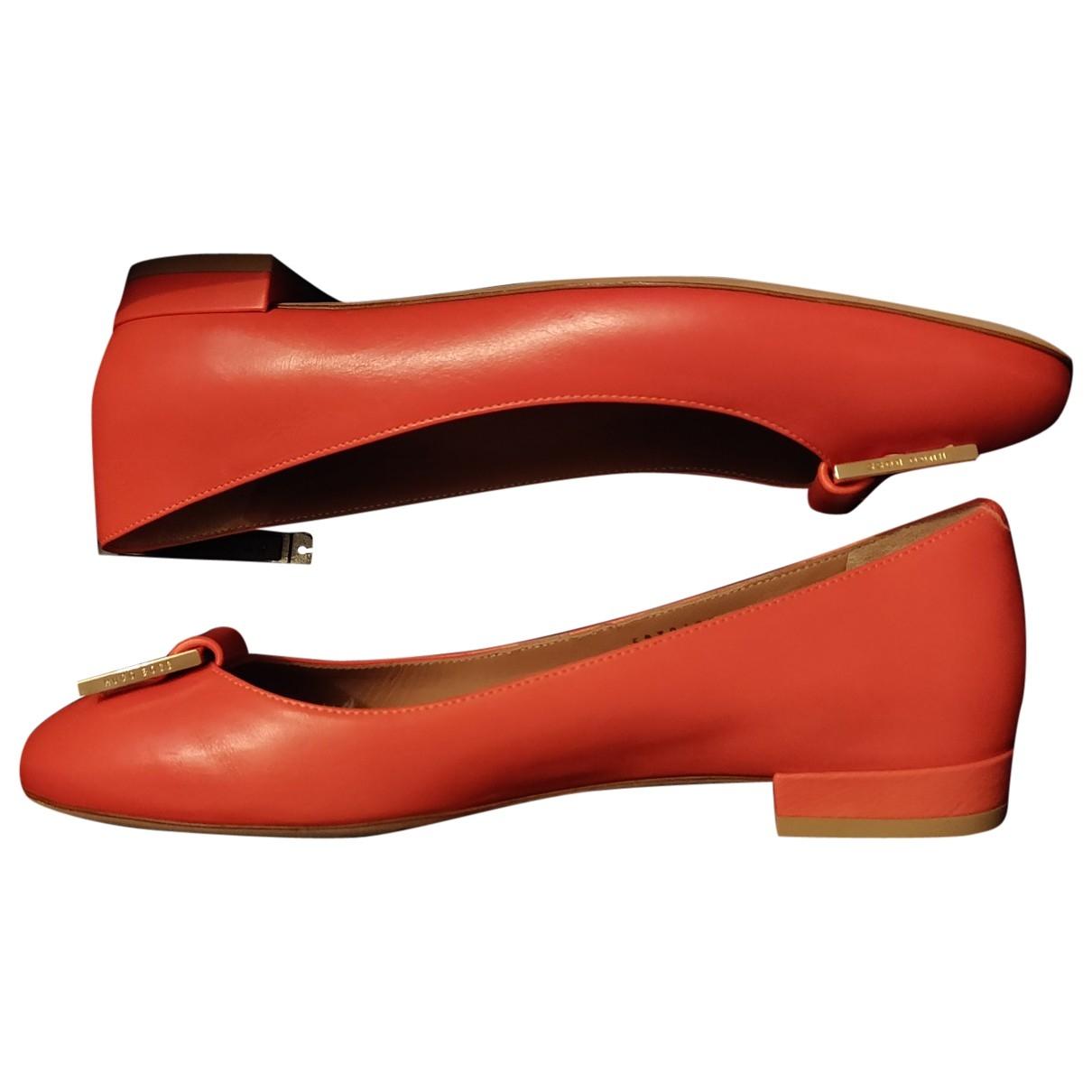 Hugo Boss \N Orange Leather Ballet flats for Women 38.5 EU