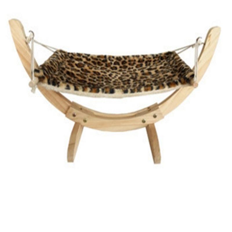 Wooden Hammock Cat Beige Gray for Relax