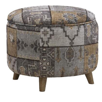 BM213967 Round Fabric Upholstered Wooden Frame Storage Ottoman