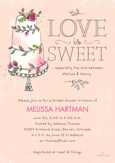Wedding Shower Invitations 5x7 Cards, Premium Cardstock 120lb with Elegant Corners, Card & Stationery -Love Is Sweet Cake