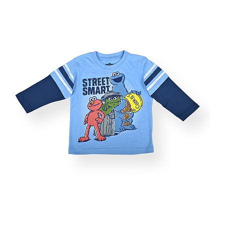 Baby Boys Crew Neck Sesame Street Long Sleeve Graphic T-Shirt, 12 Months , Blue