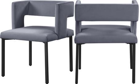 968GREY-C Caleb Grey Velvet Dining Chair (Set of