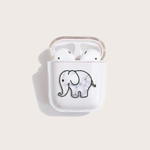 1pc Elephant Pattern Clear Airpods Case