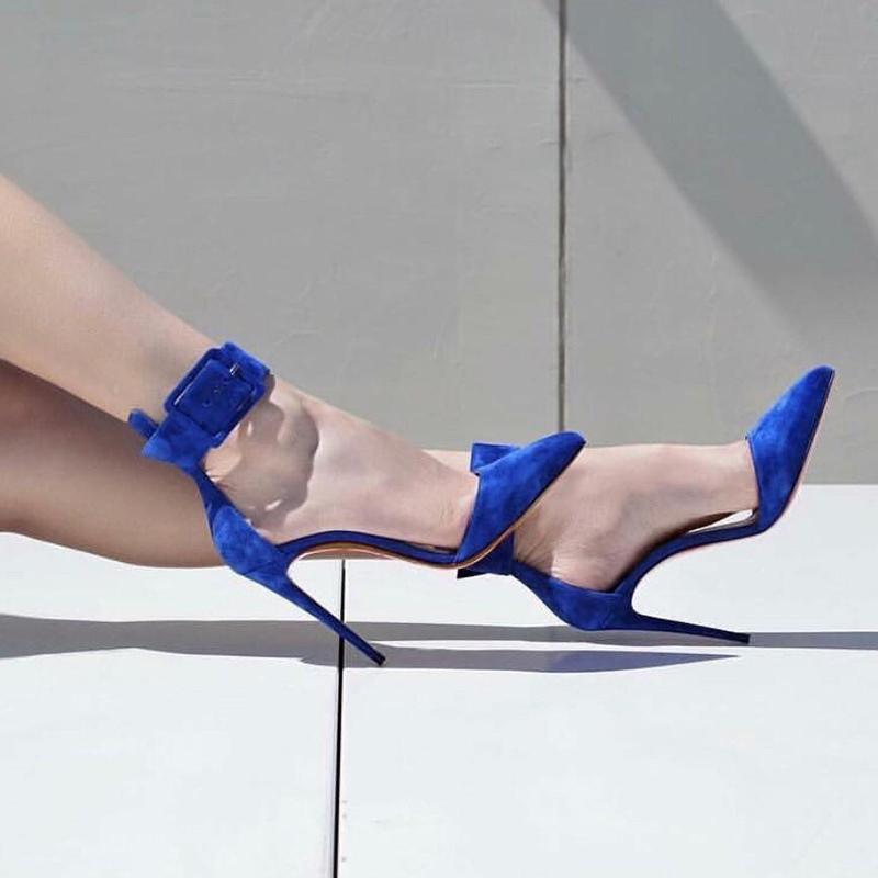 Ericdress Blue Buckle Pointed Toe Stiletto Heel Pumps