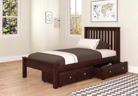 500-TCP-505-CP Twin Size Contemporary Bed with Slat Kit and Dual Underbed Storage Drawers in Dark Cappuccino