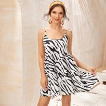 Cami Kleid mit Zebra Streifen und Knoten hinten