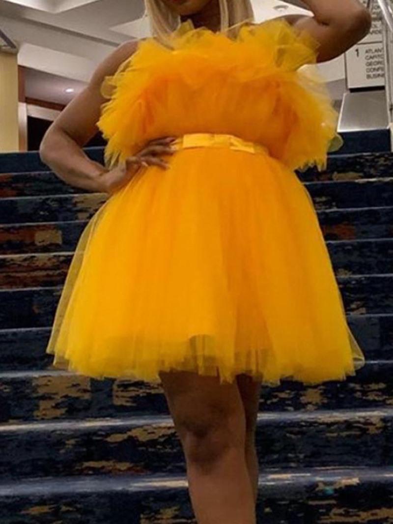Ericdress Strapless Plain Above Knee Mid Waist Ball Gown