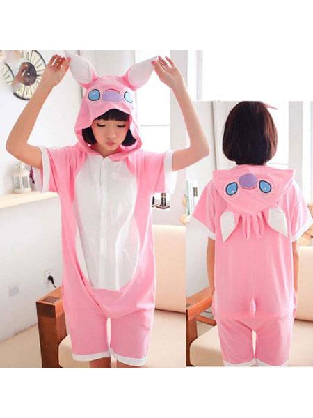 Milanoo Kigurumi Pajamas Stitch Onesie Pink Summer Jumpsuits Animal Sleepwear For Adults
