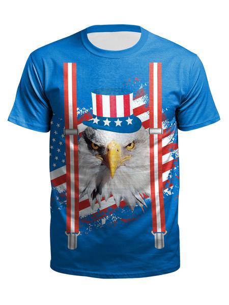 Milanoo Men\'s T-shirts Crew Neck Short Sleeves Clothing In Blue