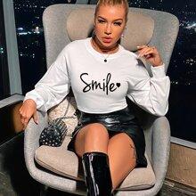 Sweatshirt mit Herzen & Buchstaben Grafik, Band vorn und Ausschnitt hinten