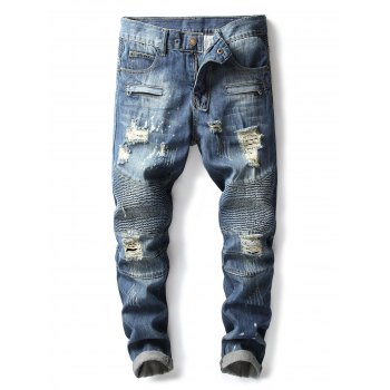 Mock Zipper Pocket Distressed Casual Denim Pants