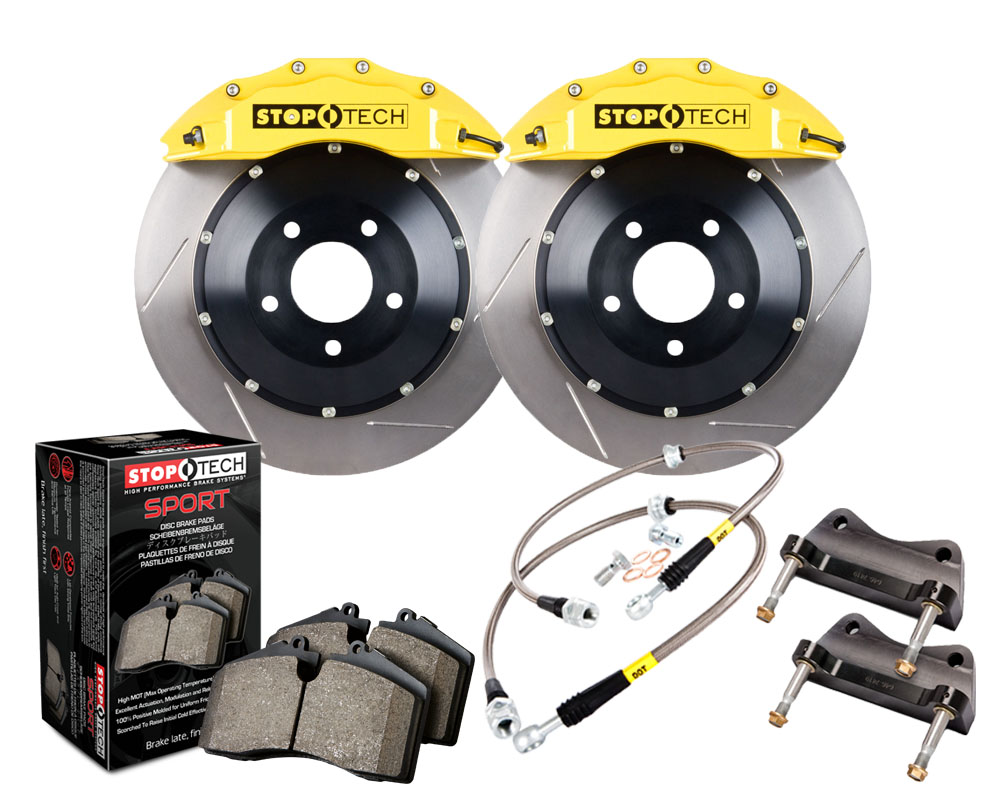 StopTech 83.154.6700.81 Big Brake Kit; Black Caliper; Drilled Two-Piece Rotor; Rear BMW Front