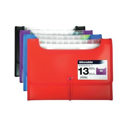 Winnable WindowFile 13 pochettes d'extension, taille lettre, couleurs assorties - 12/paquet