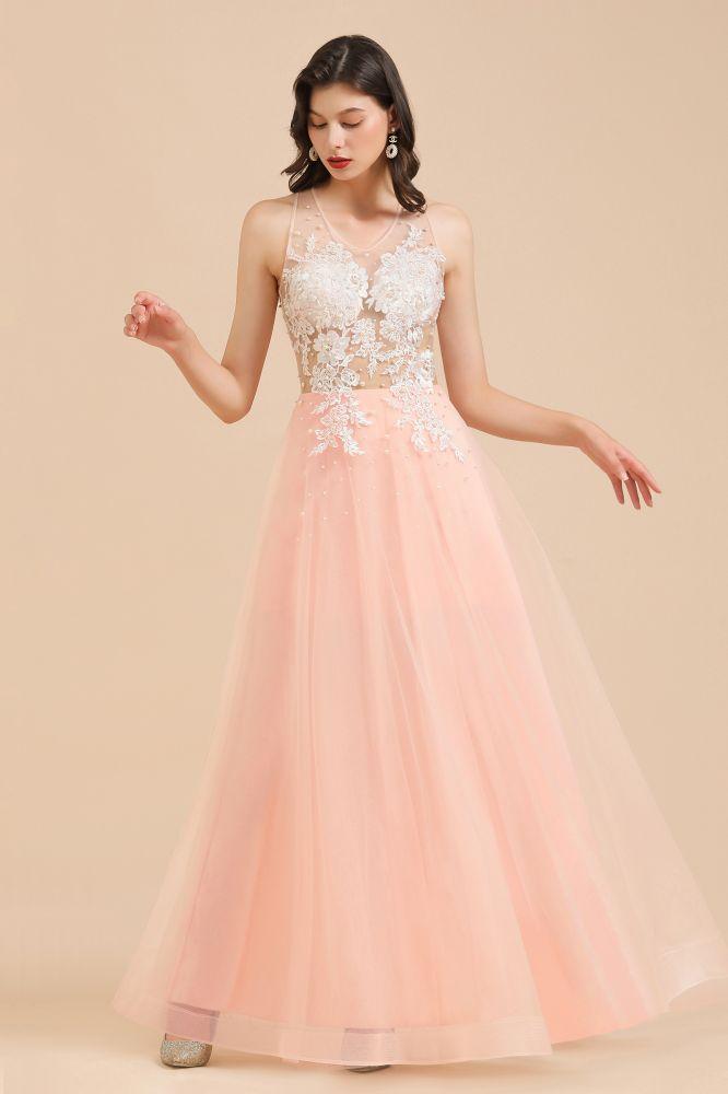 Simple Round neck Lace appliques Pink A-line evening dress