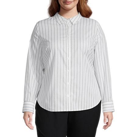 Worthington Long Sleeve Button-Front Shirt - Plus, 3x , White
