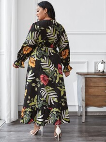 Plus Plants Print Ruffle Hem Dress