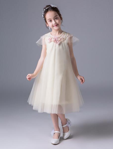 Milanoo Flower Girl Dresses Applique A Line Champagne Short Sleeve Tulle Tea Length Kids Party Dresses