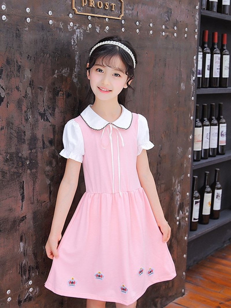 Ericdress Peter Pan Collar Lace Up Floral Printed Girl's Casual Dress