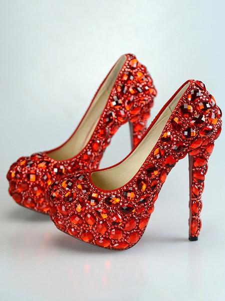 Milanoo Luxury Evening Platforms PU Leather Round Toe Rhinestones High Heel Party Shoes