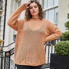 Plus Open Knit Split Hem Drop Shoulder Sweater