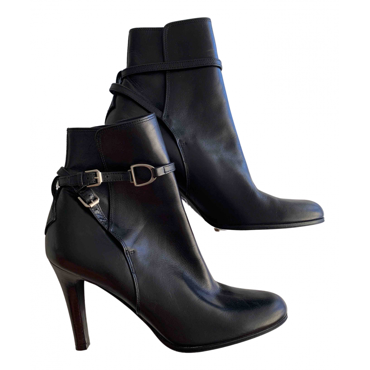 Ralph Lauren Collection \N Black Leather Ankle boots for Women 39 EU