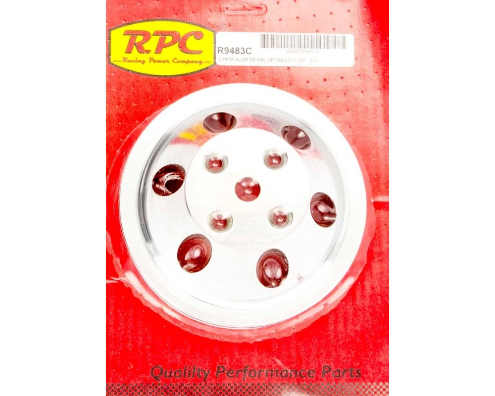 Racing Power Company R9483C Chrome LWP Aluminum Double Groove Pulley SB Chevrolet