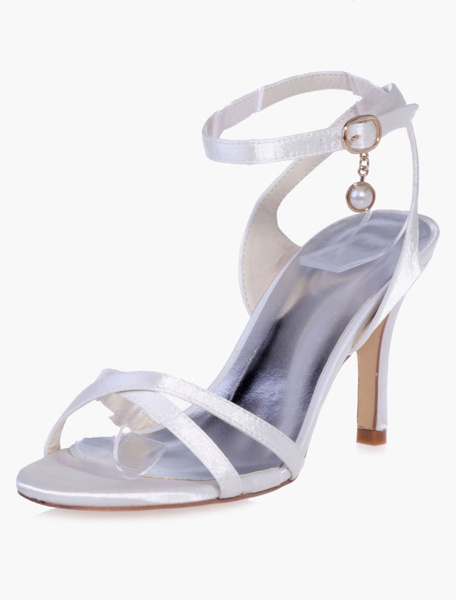 Milanoo Pearls Ankle Strap Round Toe High Heeled Evening & Bride's Sandals