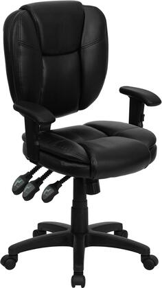 GO-930F-BK-LEA-ARMS-GG Mid-Back Black Leather Multi-Functional Ergonomic Task Chair with