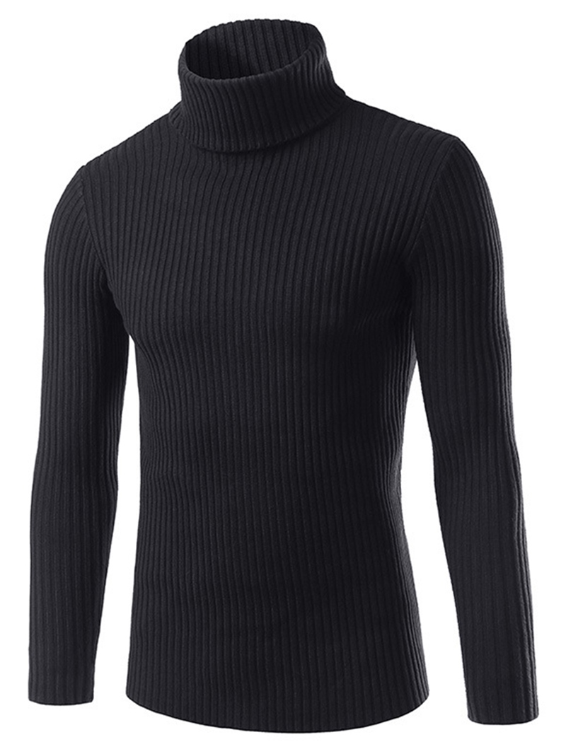 Ericdress Plain Turtle Neck Slim Men's Sweater