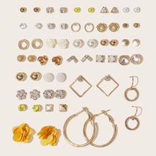 30pairs Flower & Faux Pearl Decor Earrings