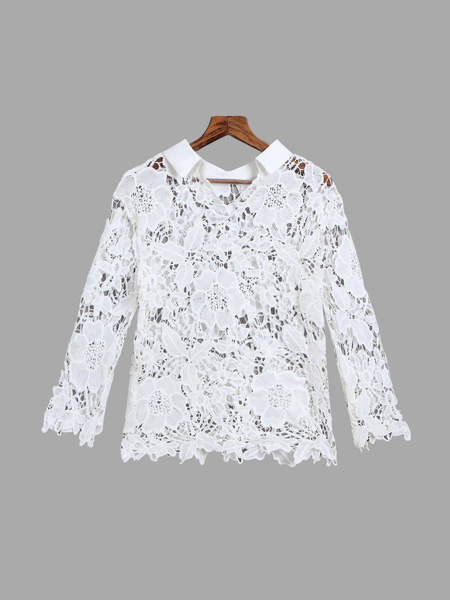 Yoins Lace Hollow Out Lapel Blouse with 3/4 Length Sleeves